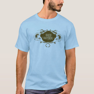 GregHaydenLogoBrown sur le bleu T-shirt