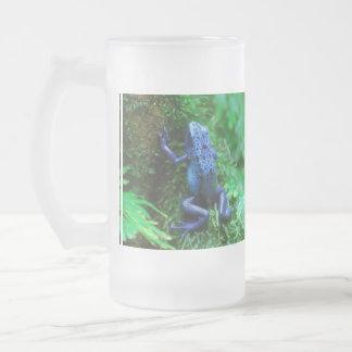 Grenouille bleue de flèche de poison mug en verre givré