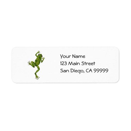 Grenouille d'arbre verte d'escalade étiquettes d'adresse retour