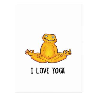 Grenouille de yoga - carte postale de yoga d'amour
