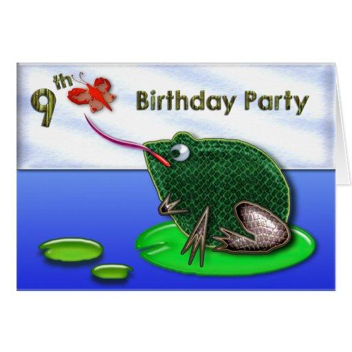 Grenouille et insecte dans le 9ème anniversaire d' carte de vœux