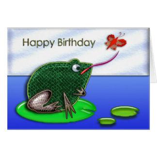 Grenouille et insecte dans un anniversaire d'étang cartes de vœux