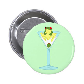 Grenouille et olive en verre de Martini Pin's