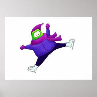 Grenouille fendue de patinage artistique de saut poster