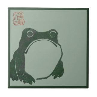 Grenouille japonaise d'ukiyo d'art petit carreau carré