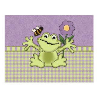 Grenouille pourpre de fleur sur le guingan cartes postales