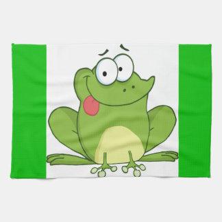 Grenouille traînant sa langue serviette éponge