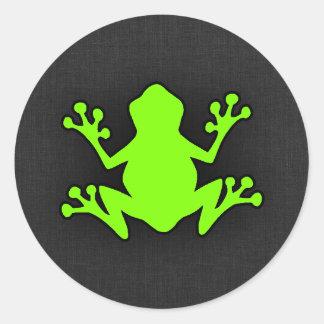Grenouille verte Chartreuse et au néon Sticker Rond