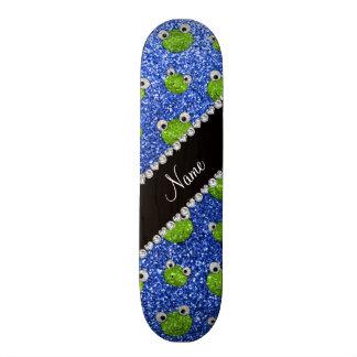Grenouilles bleues nommées personnalisées de scint plateaux de skateboards customisés