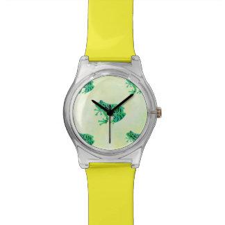 Grenouilles d'arbre mignonnes de vert d'aquarelle montre