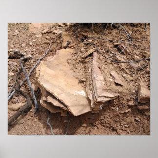 Grès formé par érosion, collines en dos d'âne poster