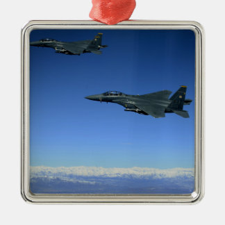 Grève Eagles 2 de l'Armée de l'Air d'USA F-15E Ornement Carré Argenté