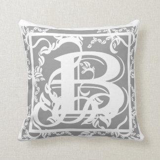 Grey and White Monogram B MoJo Throw Pillows