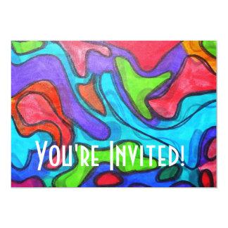 Gribouillis décalés - art abstrait moderne carton d'invitation  12,7 cm x 17,78 cm