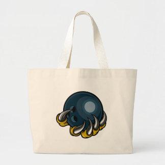 Griffe animale de monstre tenant la boule de grand tote bag