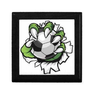 Griffe animale de monstre tenant la boule du petite boîte à bijoux carrée