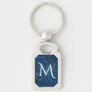 Griffonnage bleu de | de craie en pastel unique porte-clé rectangulaire argenté