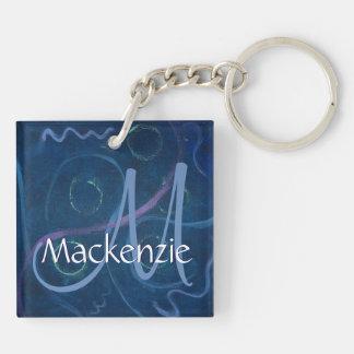 Griffonnage bleu de | de craie en pastel unique porte-clés