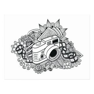 Griffonnage d'appareil-photo de hippie carte postale