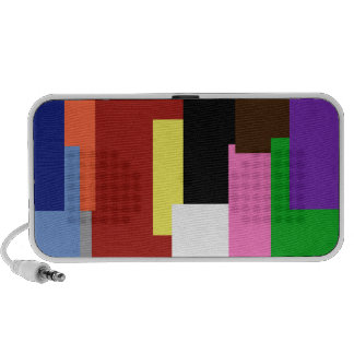 Griffonnage d'arc-en-ciel de rectangle haut-parleur notebook
