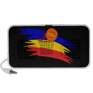 Griffonnage de conception de cercle de basket-ball haut-parleur ordinateur portable