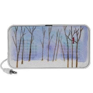 Griffonnage de forêt d'hiver haut-parleur portable