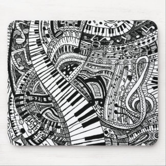 Griffonnage de musique classique avec le clavier tapis de souris