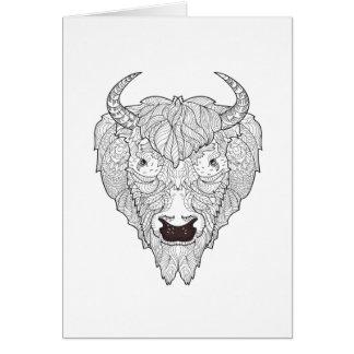 Griffonnage de tête de bison carte de vœux