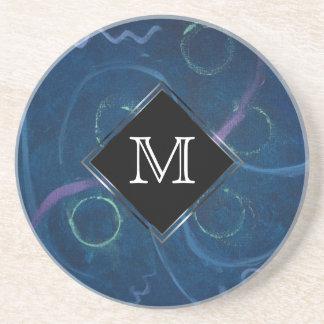 Griffonnage en pastel bleu de craie d'amusement de dessous de verres