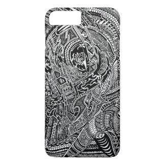Griffonnage fou tribal abstrait tiré par la main coque iPhone 7 plus