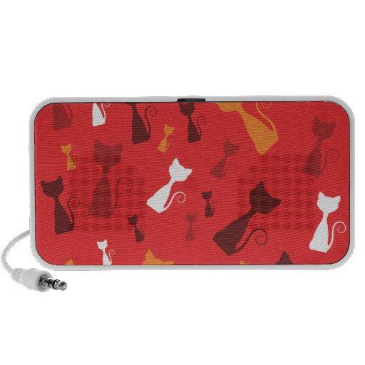 Griffonnage génial rouge de chatons haut-parleurs PC