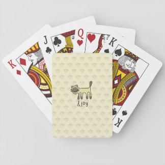 griffonnage mignon de chat siamois et de joie jeu de cartes