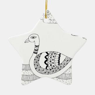 Griffonnage noir et blanc de cygne ornement étoile en céramique