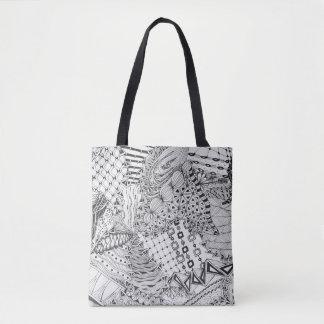Griffonnage noir et blanc, dessin original tote bag