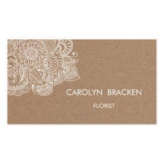 Griffonnage rustique de Paisley de papier de Brown Carte De Visite Standard
