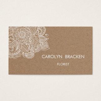 Griffonnage rustique de Paisley de papier de Brown Cartes De Visite