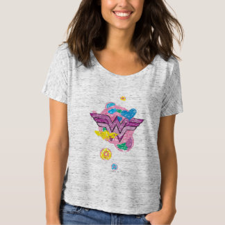 Griffonnages colorés de femme de merveille t-shirt