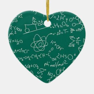 Griffonnages de chimie ornement cœur en céramique
