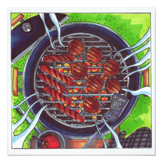 Gril de barbecue avec des hamburgers et des hot carton d'invitation  13,33 cm