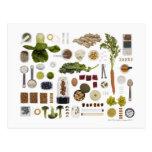 Grille saine de nourriture sur un fond blanc carte postale