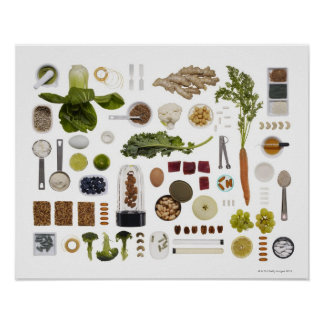 Grille saine de nourriture sur un fond blanc poster