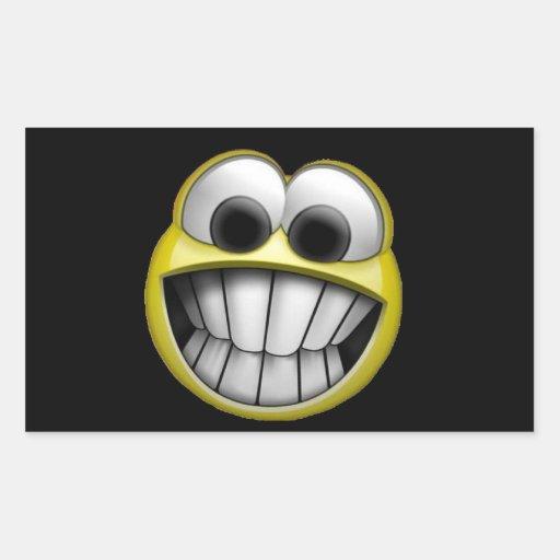 Grimacerie du visage souriant heureux sticker en rectangle