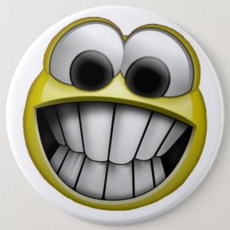 Grimacerie du visage souriant heureux badge
