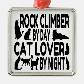 Grimpeur de roche d'amoureux des chats ornement carré argenté