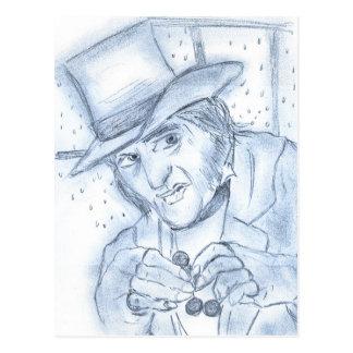 Grippe-sou dans le bleu carte postale