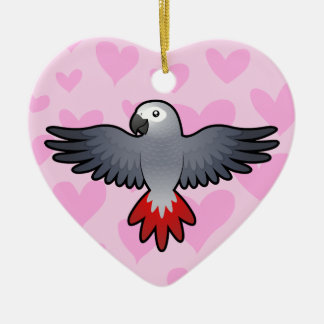 Gris africain/amour d'Amazone/perroquet Ornement Cœur En Céramique