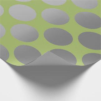 Gris argenté vert vif de grands points de polka papier cadeau noël