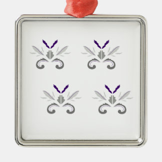 Gris blanc d'ornements de luxe ornement carré argenté