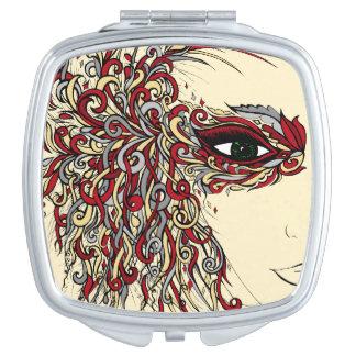 Gris bronzage de Bourgogne de visage de femme de Miroir De Maquillage