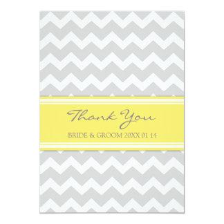 Gris Chevron de jaune de cartes de Merci de Carton D'invitation 12,7 Cm X 17,78 Cm